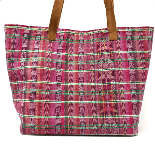 Handmade tote bag, one of a kind, unique, fair trade, made with upcycled Guatemalan fabric made on a foot loom, ethnic, boho, cultural treasures. Keeping tradition alive, perfect gift idea. Christmas gifts, birthday gifts