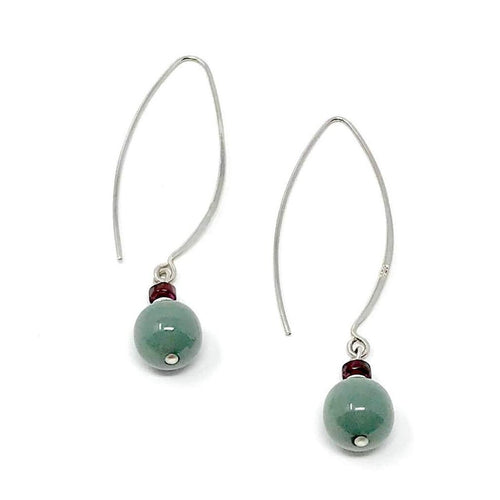 Modern dangling sterling silver and green jadeite jade earrings with carnelian, fine handmade jewelry, ethically made in Guatemala, fair trade fashion, handcrafted natural jade.