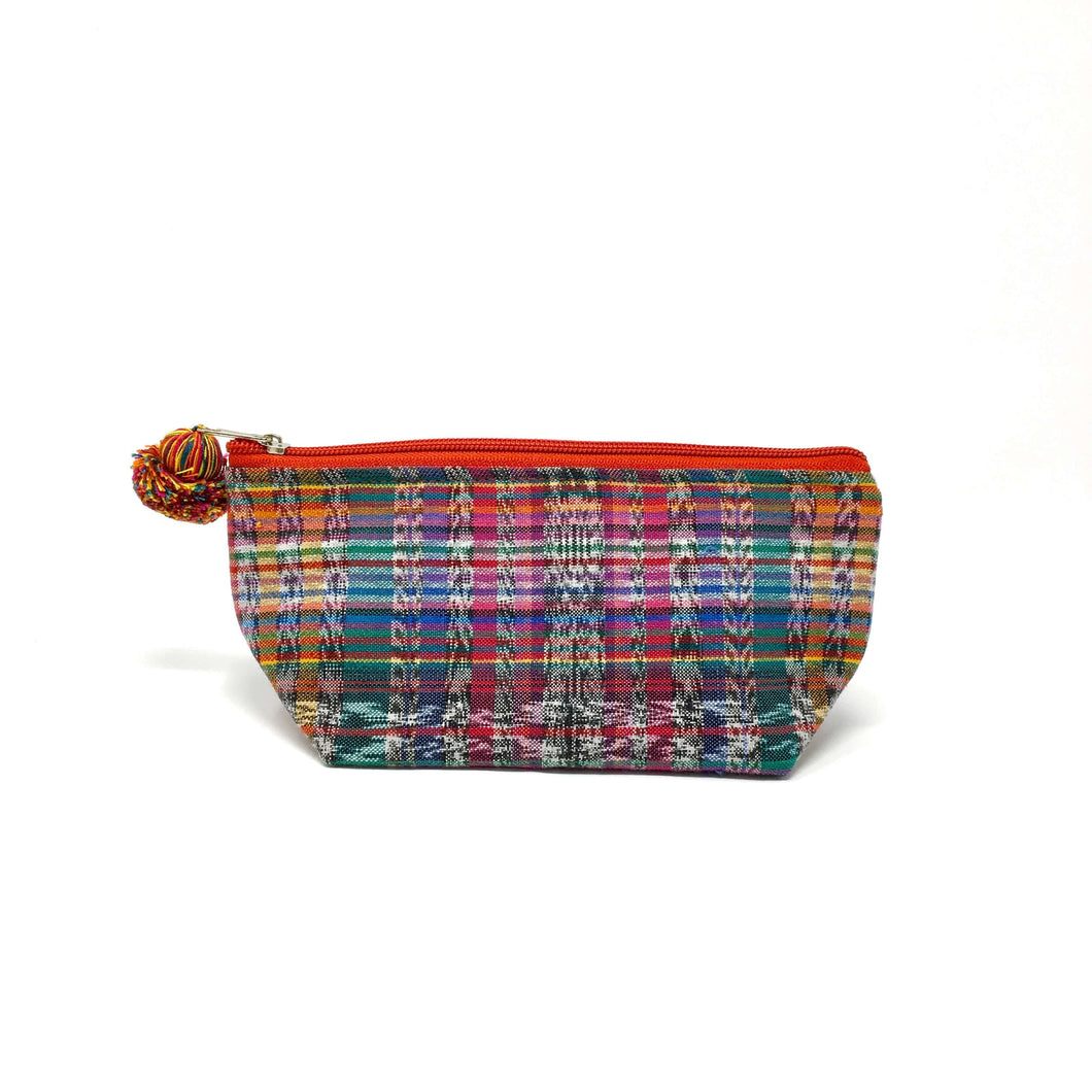 Small makeup bag, one of a kind, unique, fair trade, made with upcycled Guatemalan fabric made on a foot loom, ethnic, boho, cultural treasures. Keeping tradition alive, perfect gift idea. Christmas gifts, birthday gifts