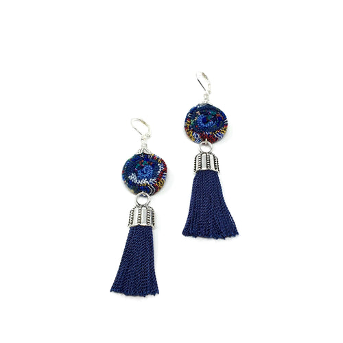 Handmade earrings with Guatemalan textile and tassel in dark blue