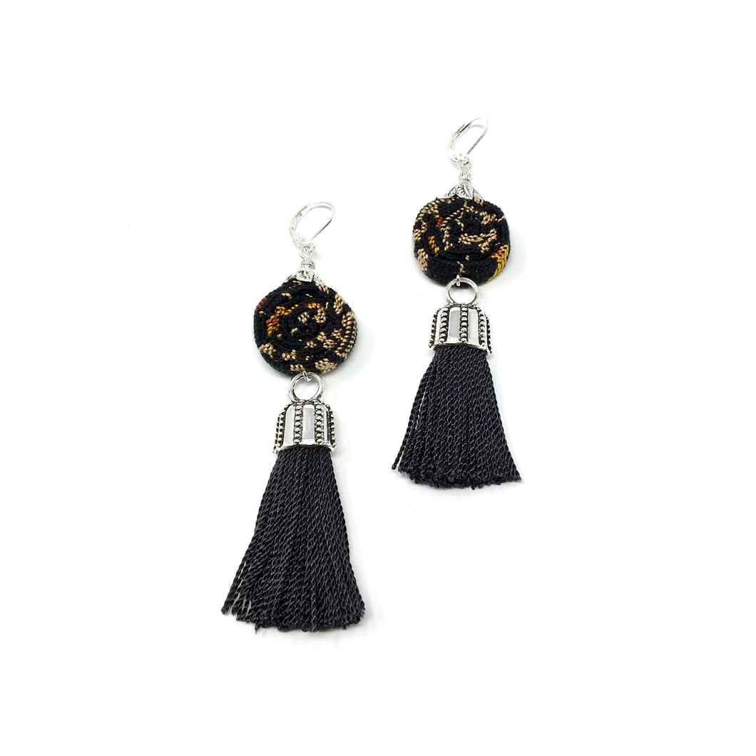 Handmade fashion earrings each is one of a kind, tassel jewelry, black earrings, designer fashion, fall and winter colors. Handcrafted jewelry, made in Guatemala.