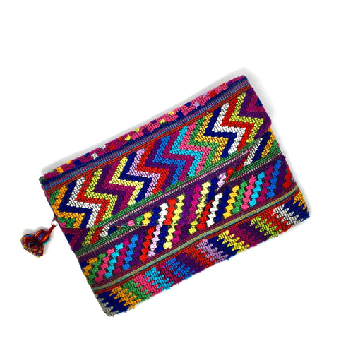 Artisan made fun clutch with up-cycled Mayan fabric