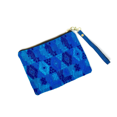 Beautiful hupil bag, handmade pouch, made in Guatemala, fair trade, ethically made, blue leather and upcycled Mayan fabric. Perfect gift, travel bag, pencil case, makeup bag.