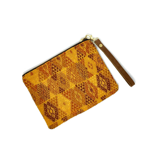 Beautiful hupil bag, handmade pouch, made in Guatemala, fair trade, ethically made, brown suede and upcycled Mayan fabric. Perfect gift, travel bag, pencil case, makeup bag.