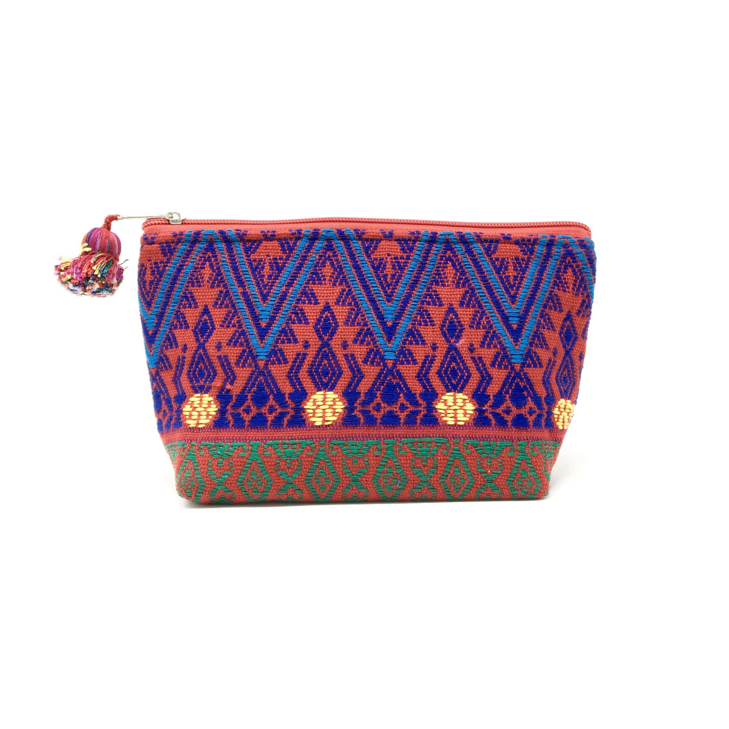 Handmade geometrical makeup bag with Mayan fabric