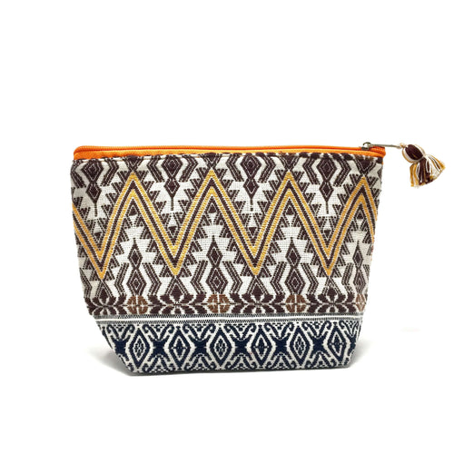 Makeup bag, cosmetic bag, handmade, Mayan fabric, handwoven on back strap loom, fair trade, supporting artisans, ethically made, sustainable fashion, products that give back, slow fashion, made in Guatemala