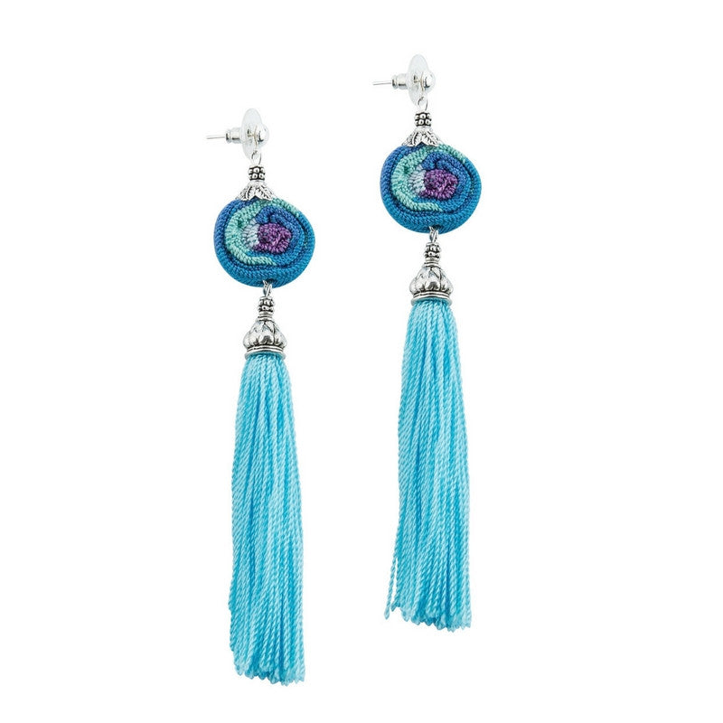 Turquoise and blue earrings, Guatemalan fabric and tassel, handmade, unique, one of a kind, supporting communities, social enterprise, fashion jewelry, designer jewelry, one of a kind