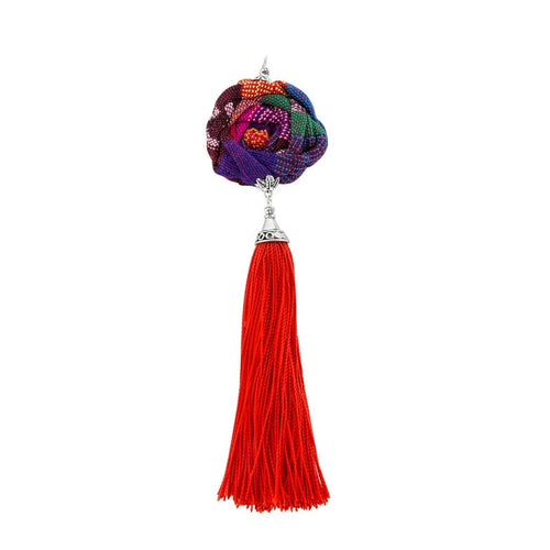 Flower pendant in red, Guatemalan fabric and tassel, handmade, unique, one of a kind, supporting communities, social enterprise, fashion jewelry, empowering women with designer jewelry