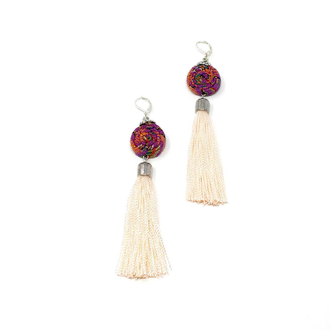 Unique earrings with Guatemalan textile and tassel in pink
