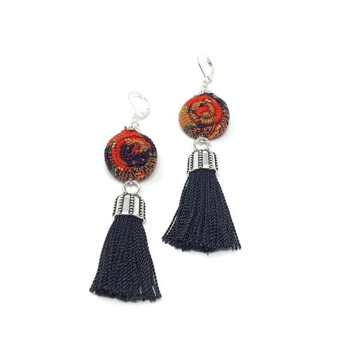 One-of-a-kind handmade earrings with Guatemalan textile and tassel in black