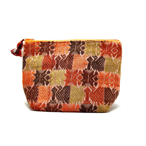 Cosmetic bag one of a kind handmade, makeup bag, artisan made, boho style, fall and winter colors, perfect gift idea, fair trade, ethically made, slow fashion, upcycled