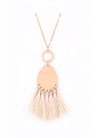 Tassel Pendant Necklace Cream