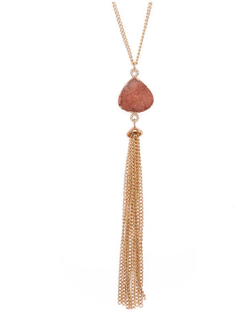 Druzy Chain Tassel Necklace Blush