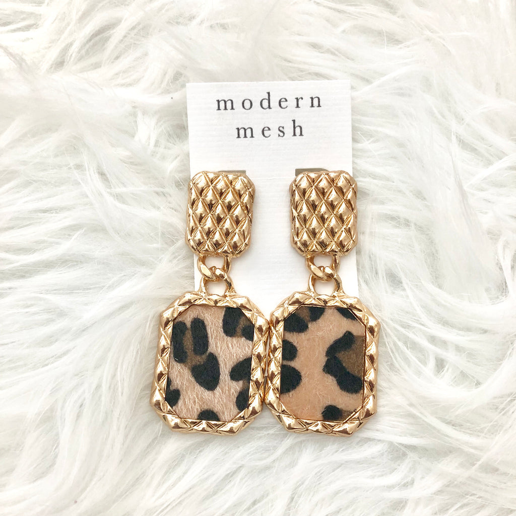 Leopard Quilt Earrings
