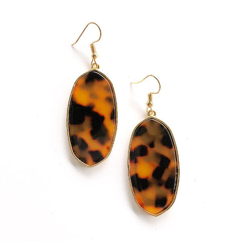 Geo Drop Earrings Leopard