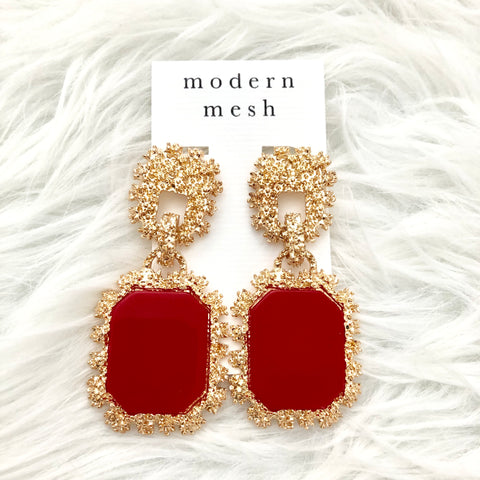 Red & Gold Drop Earrings