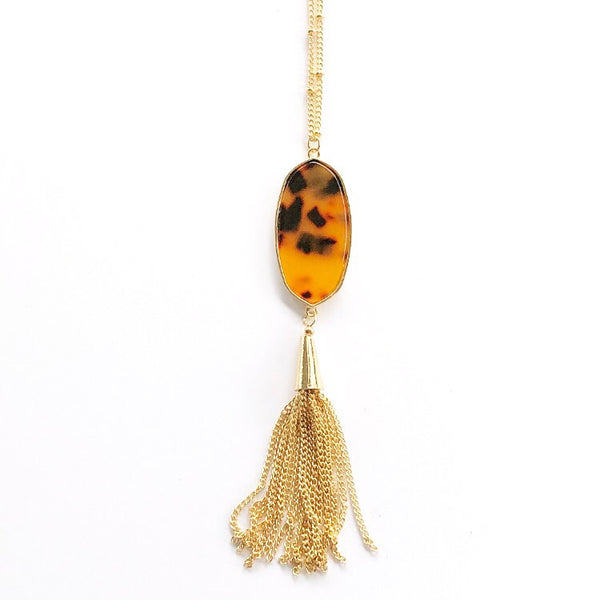 Geo Tassel Necklace Leopard