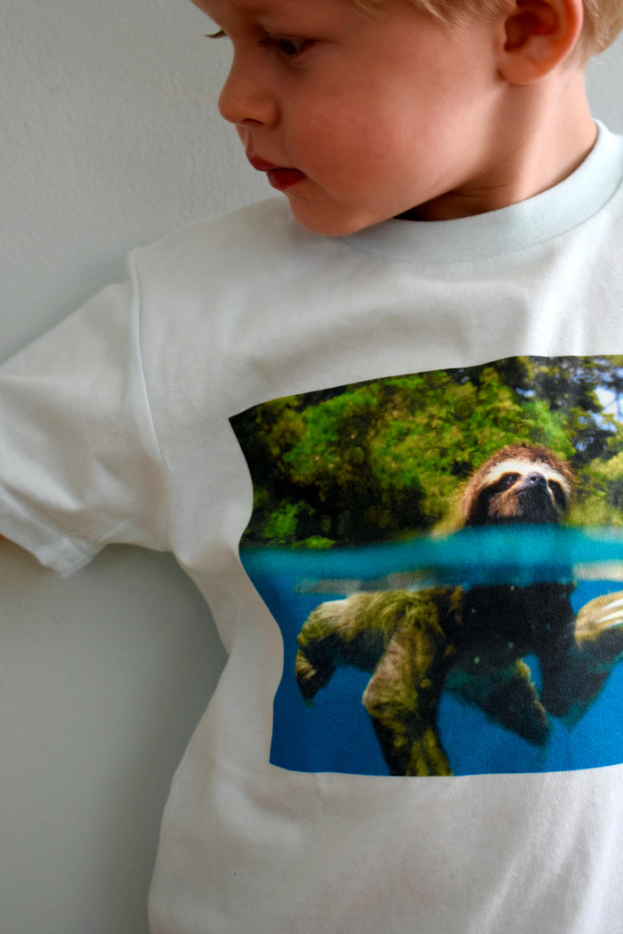 Kids Sloth Organic Blue T-shirt