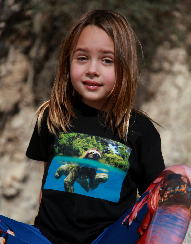 Kids Sloth Organic Black T-shirt