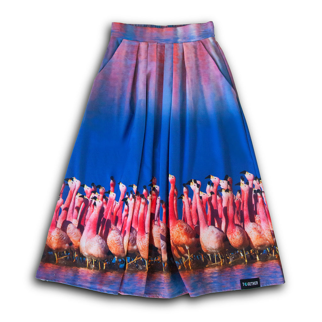 Flamingo Pleated Skirt