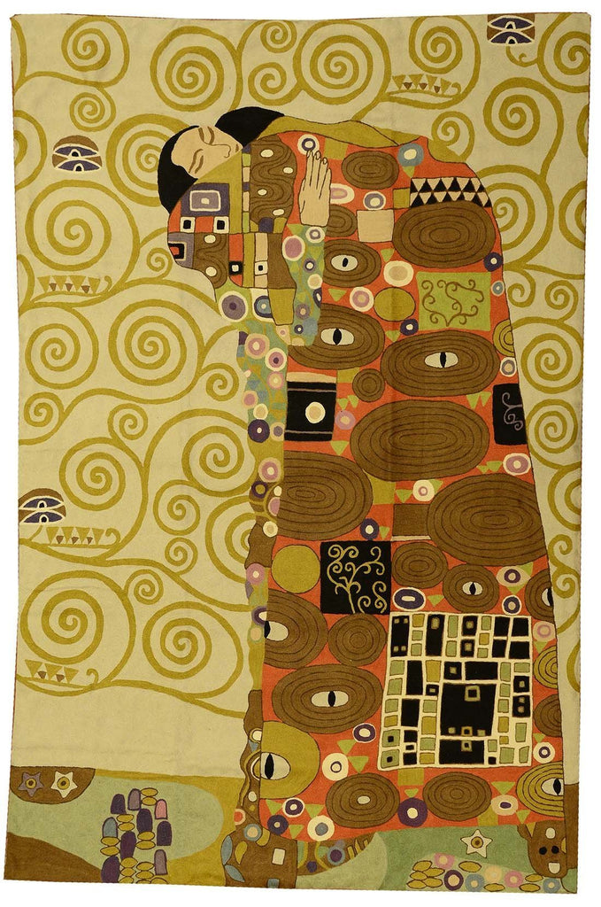 Klimt Kiss Wool Rug / Wall Tapestry Hand Embroidered 6ft x 4ft - KashmirDesigns