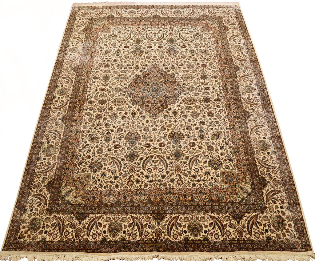 8x11ft Tabriz Silk Rug Oriental Carpet white Cream Medallion HandKnotted