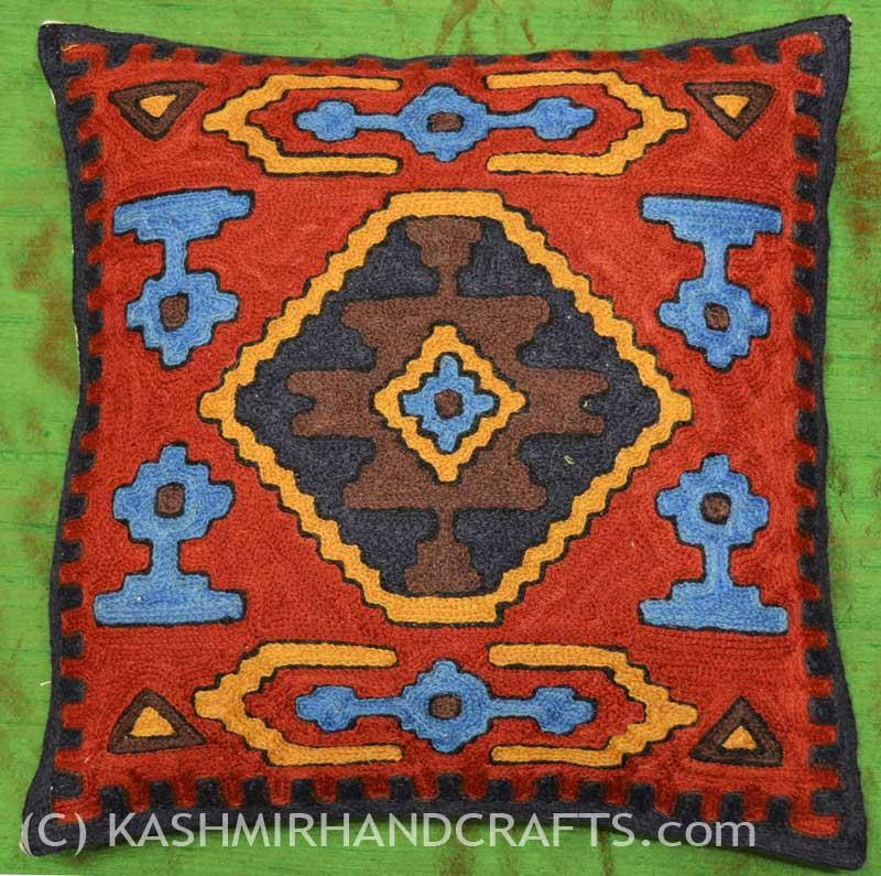 All-Seeing-Eye Tribal Wool Cushion COVER HANDEMBROIDERED