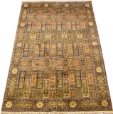 6x9ft Gom II Silk Rug Geometric Oriental Carpet Tree of Life Gold Brown Star Kashmir Hand Knotted