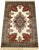 6'X4' Cream Saroukh Rug Pure Silk Pile Oriental Carpet Area Rugs Hand Knotted