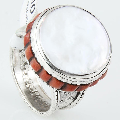 Size 7 White Mother of Pearl Ring Sterling Silver Cocktail Rings