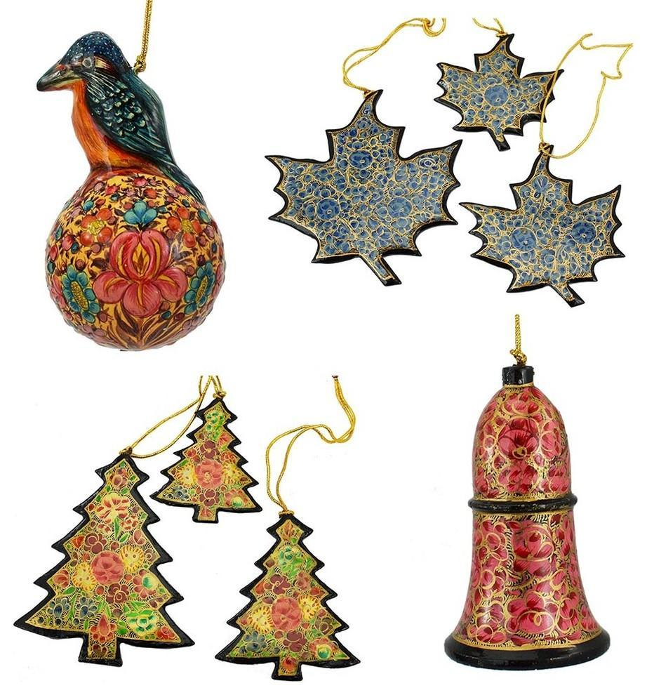 Holiday Christmas Ornaments, Hand Painted Robin Ball, Bell, Tree and Maple Set - KashmirDesigns