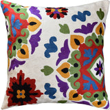 Ivory Cream Floral Bohemian Suzani II Accent Pillow Cover Handmade Wool 18x18