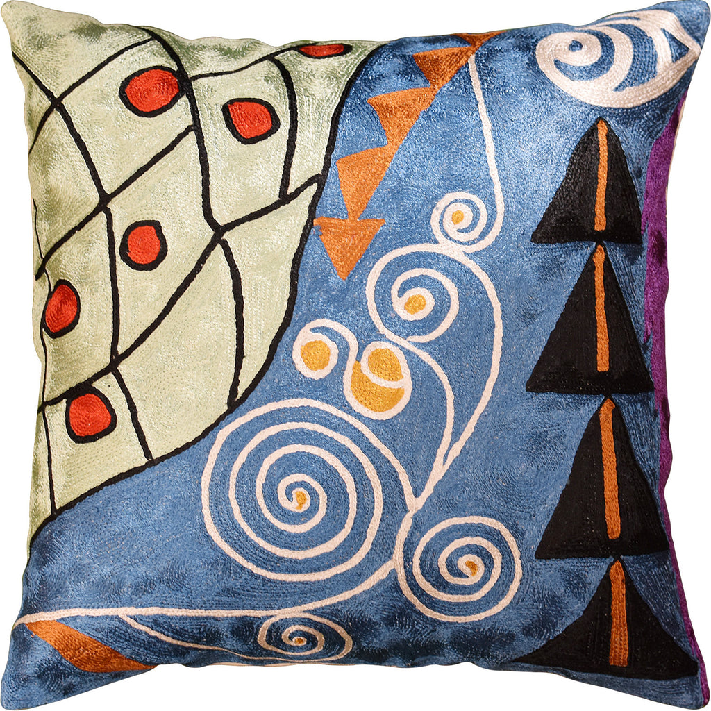 "Klimt  Expecation Blue Decorative Pillow Cover Handembroidered Art Silk 18""x18"" - KashmirDesigns"