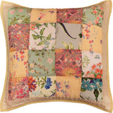 Romantic Patchwork II Floral Accent Cotton Pillow Cover Handprint Design 18