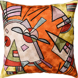 Kandinsky Orange Abstract Throw Pillow Cover Handembroidered Art Silk 18