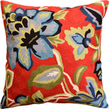 Red French Floral Elements Decorative Pillow Cover Handembroidered Wool 18x18