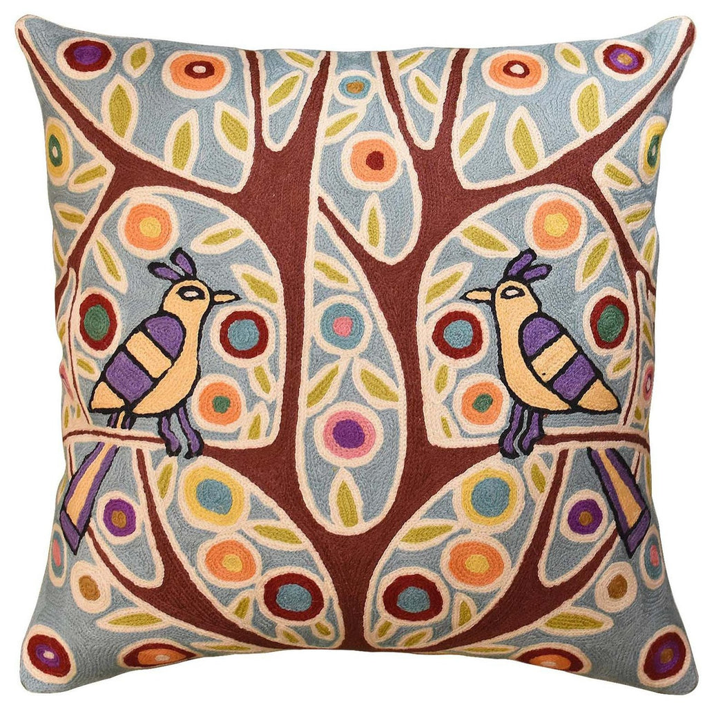 "Folk Bird In Tree Karla Gerard Accent Pillow Cover Handembroidered Wool 18""x18"" - KashmirDesigns"