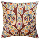 Folk Bird In Tree Karla Gerard Accent Pillow Cover Handembroidered Wool 18