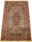 6'X4' Kirman Isfahan Rug Pure Silk Pile Green Oriental Area Rugs Carpet Hand Knotted