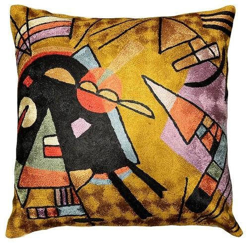 "Kandinsky Cushion Cover Black And Violet Silk Decorative Hand Embroidered 18"" x 18"" - KashmirDesigns"