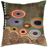 Klimt Green Swirls Decorative Pillow Cover Wool Hand Embroidered 18
