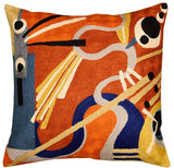 Kandinsky Decorative Pillow Cover Intuitive Flow II Wool HandEmbroidered 18x18