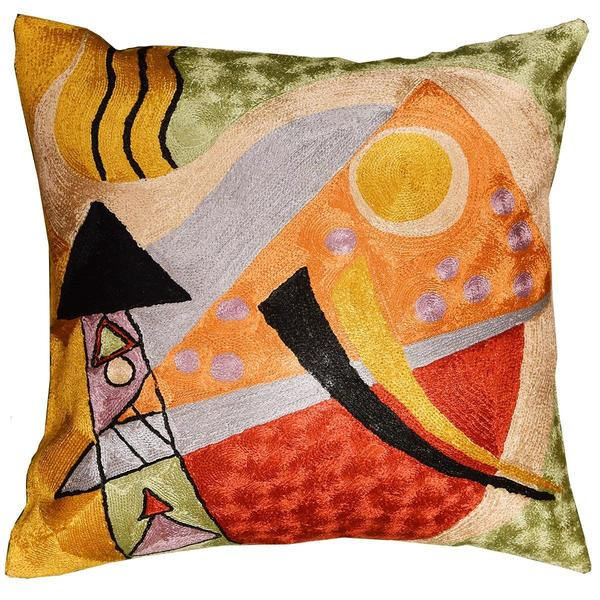 "Kandinsky Abstract Composition Silk Throw Pillow Cover Hand embroidered 18x18"" - KashmirDesigns"