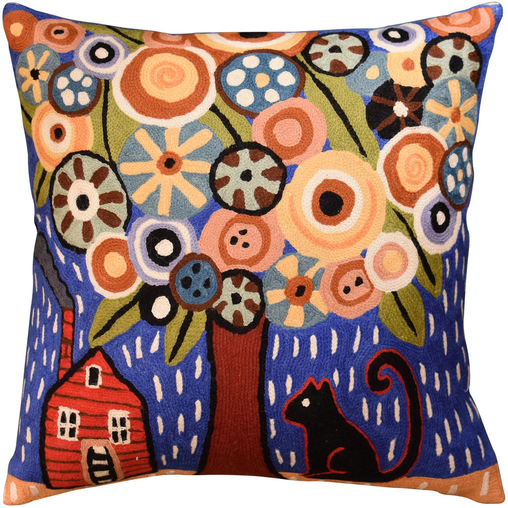 "Home Sweet Home Karla Gerard Accent Pillow Cover Handembroidered Wool 18""x18"" - KashmirDesigns"