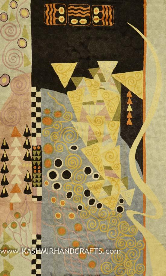 Klimt Modern Abstract Rug / Tapestry Hand Embroidered 3ft X 5ft