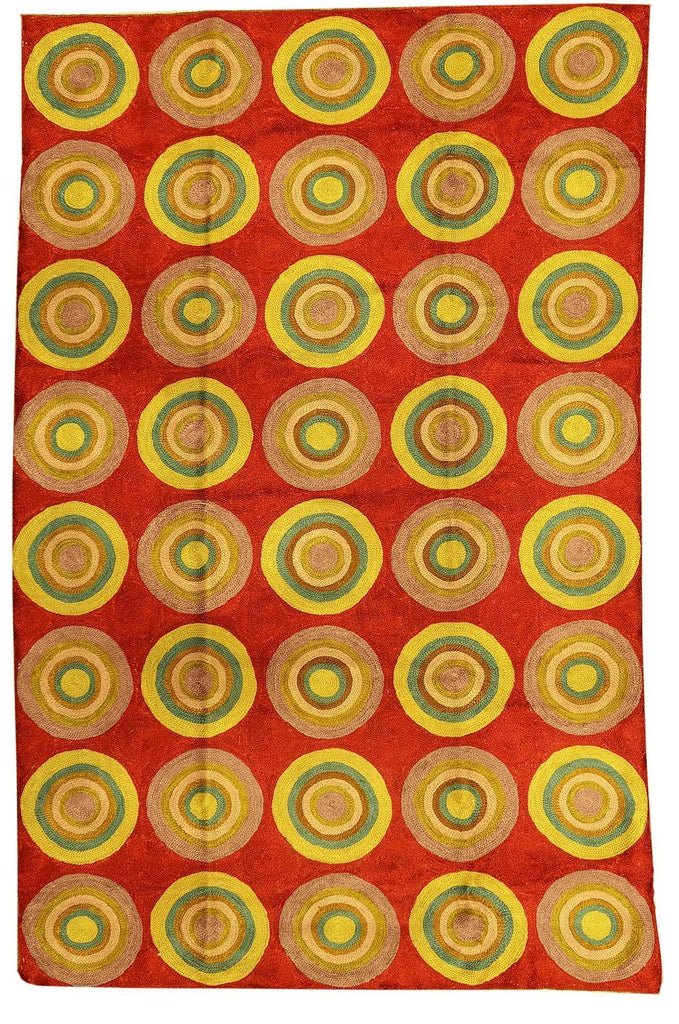 Kandinsky Red Circles Silk Rug / Wall Tapestry Hand Embroidered 2.5ft x 4ft - KashmirDesigns