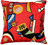 Kandinsky Throw Pillow Cover Mit Und Gegen Red Hand Embroidered Wool 18x18