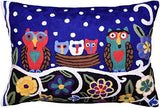 Lumbar Blue Owl Family Decorative Pillow Cover Whimsical Hand Embroidered Wool 14x20