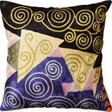 Klimt Blue Black Jewel Tree of Life Throw Pillow Cover Handmade Art Silk 18