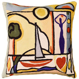 Fun in the Sun II by Alfred Gockel Accent Pillow Cover Handmade Wool 18